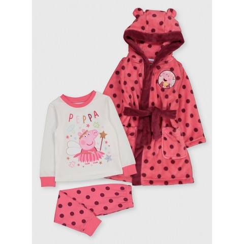 Peppa Pig Pink Dressing Gown & Pyjamas - 1-1.5 years Toys Canada [Sale]