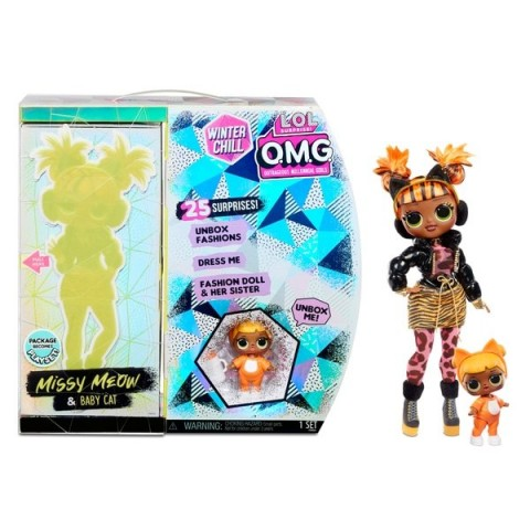 L.O.L. Surprise! O.M.G. Winter Chill Missy Meow & Baby Cat Doll with 25 Surprises [ Sale ] [ Black Friday ]