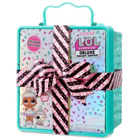 L.O.L. Surprise Deluxe Present Surprise Limited Edition Sprinkles Doll and Pet Teal [ Sale ] [ Black Friday ]